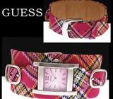 Unique and cute checkered pink GUESS ladies watch