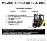Warehouse Assistant - $2.2K / OT / Bonus / AWS / Islandwide