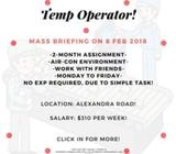 X22 Temp Operator - up to $310 Per week/ South/ 2 months/ No Exp Required!