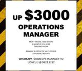 up $3000 Ops manager
