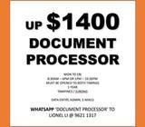 up $1400 // Document Processor // admin // data entry