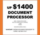 Document Processor // Data Entry // Admin // up $1400