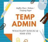 Temp Admin // $7-$9/hr, Central / Bishan // 3 months
