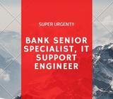 URGENT BANK SENIOR SPECIALIST, IT SUPPORT ENGINEER // 1YEAR