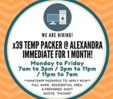 **x39 Temp Packer / Operator @ Alexandra** (5 day work, Immediate for 1 month only!)