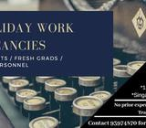 Holiday Work Vacancies! Students welcomed!