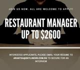RESTAURANT MANAGER | UP TO $2600!