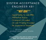 **X 8 !!**System Acceptance Engineer ($2800/ Yishun/ Mon- Fri/ Transport Provided)