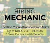 HIRING: Production Mechanics x3 (Up to $1800 + 2 months bonus + OT / Yishun)