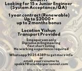 ASSOCIATE ENGINEER (SYSTEM ACCEPTANCE/QA) | 1 YEAR | $2000 + BONUS | TRANSPORT | YISHUN