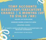 **Temp Accounts Assistant/Executive | Changi | 6 months **