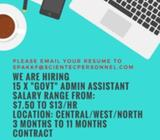 ADMINISTRATIVE ASSISTANT (GOVT) | $9 ~ $13/HR | ISLANDWIDE | 6 MONTHS CONTRACT