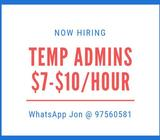 We are hiring Admin Staff! $7-$10 per hour!