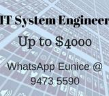 IT System Engineer (Up to $4000 | CBD | MNC) ** Singaporean Only