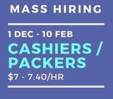 SUPERMARKET *MASS HIRING*! @ EAST >> $7/HR X 40 PPL!! DEC 2018-FEB 2019