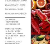 Supermarket Supervisor, Assistant, Cashier or Picker (Up to $1600 / Islandwide)