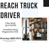 Reach Truck Operator @ Boon Lay ( 5 Day Work | Up to $2500 | Immediate Hiring )
