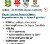SEC MATH/PHYSICS/CHEM TUITION (BY FEMALE TUTOR)