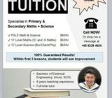 HOME TUITION - PSLE & 'O' Levels [Mathematics + Science Tuition]
