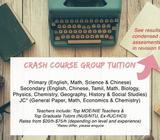 MOE & NUS/NTU GRADS (EX RJC/HCI): PRIMARY, SECONDARY SCHOOL & JC TUITION - DEC HOLIDAY CRASH COURSE