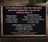 MOE TEACHER (NIE Trained) Tuition Services: Primary, Secondary Sch & JC Individual and Group Tuition