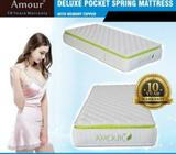 Amour- Pocket Spring Mattress with Memory Foam Top 10 Years Warranty