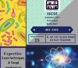 IGCSE Chemistry, Biology & Physics tuition (all locations)