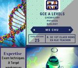 A level Chemistry, Biology, Physics Tuition (ALL LOCATIONS)