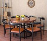E009, PO-Solid Wood Dining Table, Round table, E