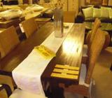 Teak Dining Table with Teak Dining Chairs Tall Back with cushions. Singapore