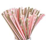 Biodegradable Paper straws, 100 pink / gold for Christmas Day, New Year / Birthday Celebrations!