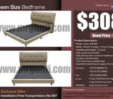 QUEEN LEATHER BEDFRAME ONLY AT :$308, UP:$528, NO GST