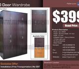 PROMOTION : 10 DOOR WARDROBE :$399, UP:$599, NO GST