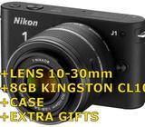 NIKON J1 BLACK + LENS 10-30mm BRAND NEW + GIFTS + SD 8GB CL10 (Bishan)