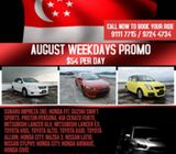 August Weekdays Hot Promo - All Cars @ $54 / Day