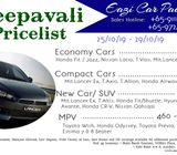 Cheapest Deepavali Cars Rental Package (25/10 -29/10/19) Hurry!