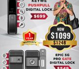 Keywe push pull digital lock with Epic 5g pro Gate digital lock at $1099 Call 91616282