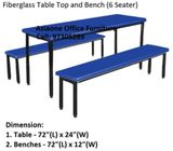 Fibreglass Canteen Table & Bench / L1800mm / Dormitory Worker Pantry Room