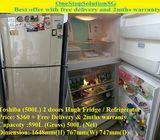 Toshiba (500L) 2 doors Hugh Fridge / Refrigerator ($360 + Free Delivery & 2mths warranty)