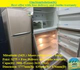 Mitsubishi (342L) 3doors refrigerator / fridge ($275+ Free Delivery and 2mths warranty)