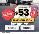PHV - Toyota Altis from ard $46nett/day (12 months)